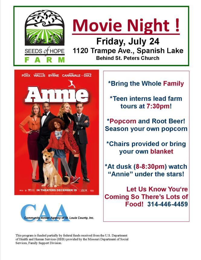 Annie Movie Night Flyer 2015