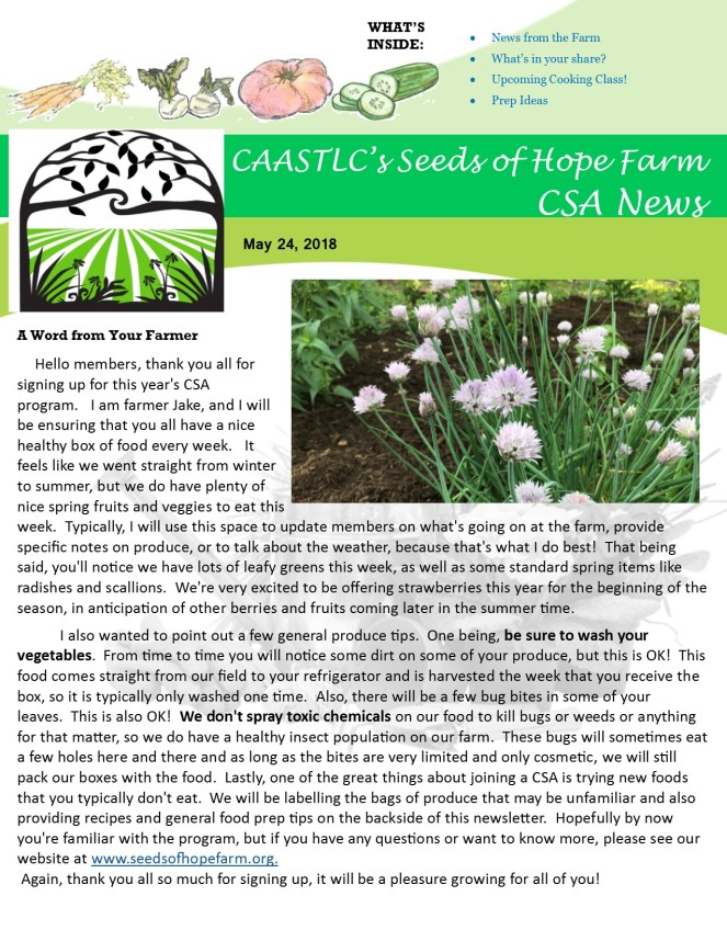Week 1 5.24 2018 CSA Newsletter pg 1
