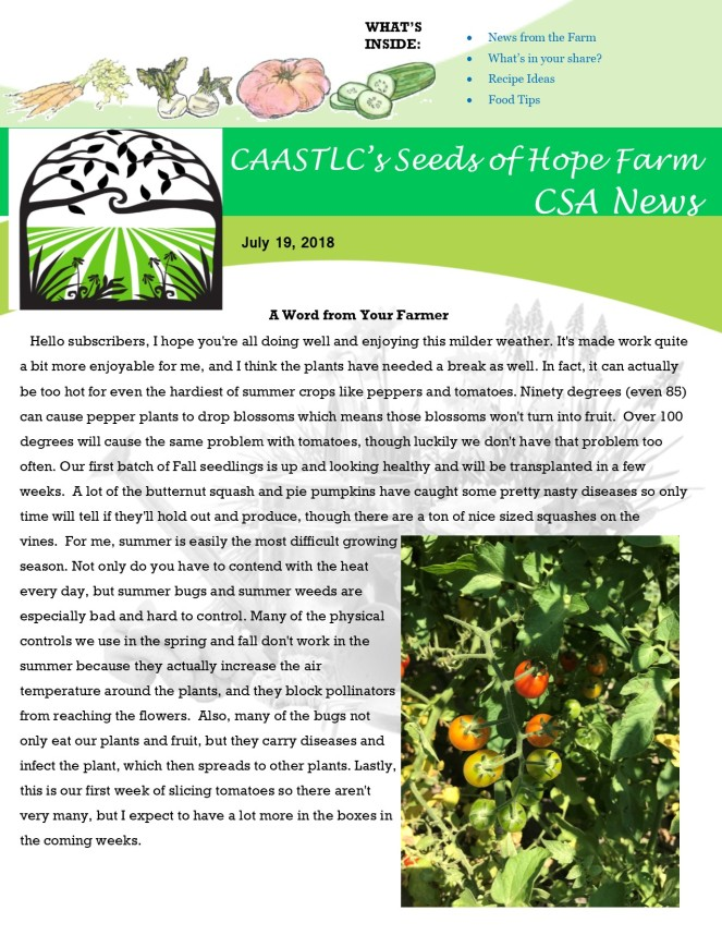 Week 9 7.19 2018 CSA Newsletter pg1