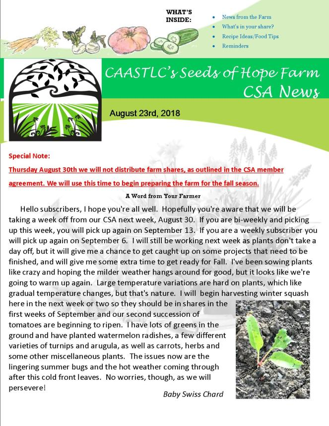 Week 14 8.23 2018 CSA Newsletter pg 1