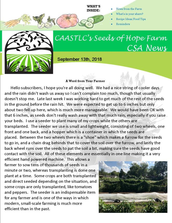 9.13 2018 CSA Newsletter pg 1