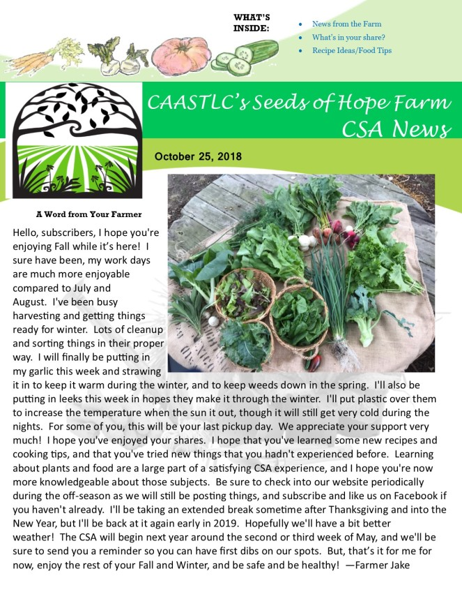 10.25 2018 CSA Newsletter pg 1