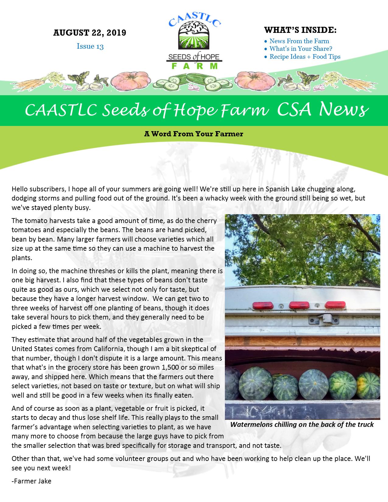 CAASTLC Seeds of Hope Farm CSA News! – CAASTLC Seeds of Hope
